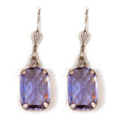 Pillow Cut Crystal Earrings - Purple Tanzanite and Silver