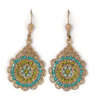 Catherine Popesco Gold Round Filigree Crystal Earrings - Teal & Olivine