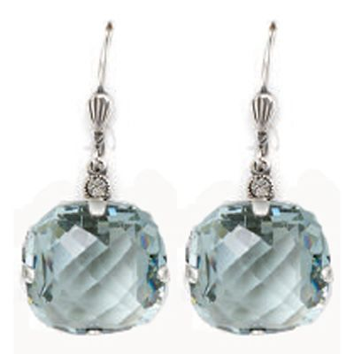 Catherine Popesco Ex-Large Stone Crystal Earrings - Indian Sapphire and Silver