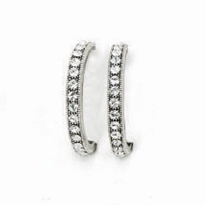 Catherine Popesco Silver Crystal Hoop Earrings