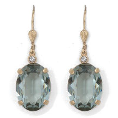 Oval Indian Sapphire and Gold Crystal Earrings