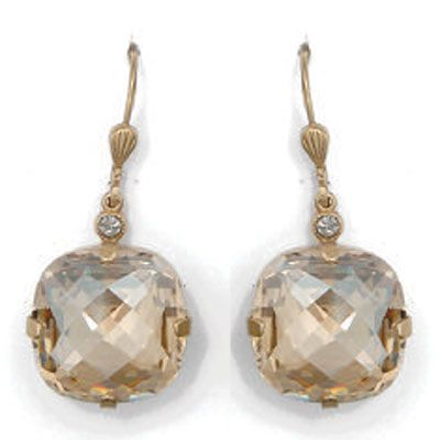 Ex-Large Stone Crystal Earrings - Champagne and Gold
