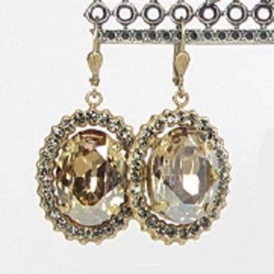 Oval Crystal Frame Earrings - Champagne