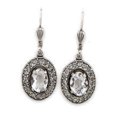 Catherine Popesco Clear Crystal and Black Diamond Silver Oval Earrings