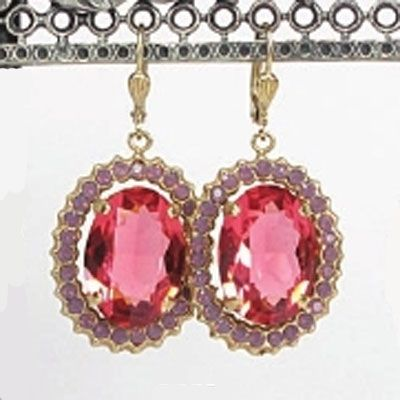 Catherine Popesco Oval Crystal Frame Earrings - Pink