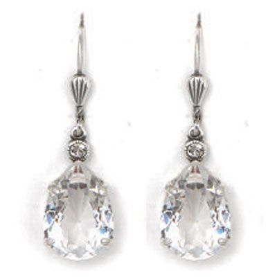 Catherine Popesco Clear Crystal and Silver Teardrop Earrings