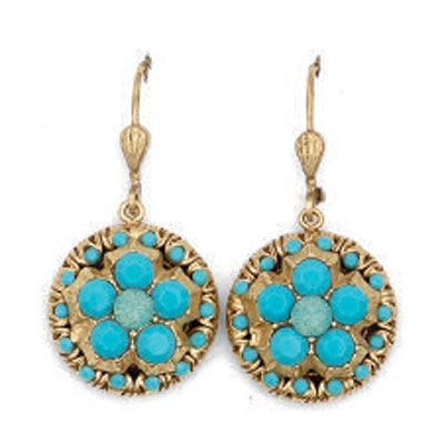 Catherine Popesco Round Turquoise and Gold Earrings