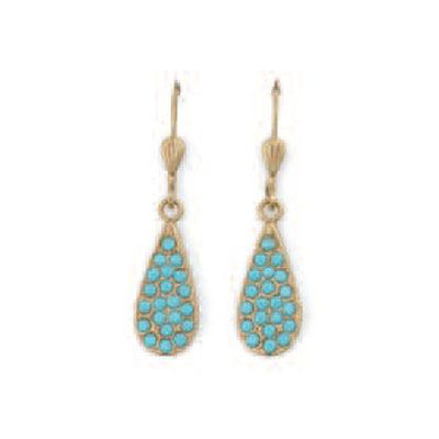 Catherine Popesco Small Turquoise Paved Teardrop Earrings