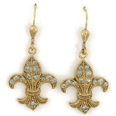 Catherine Popesco Fleur-de-lis Crystal Gold Earrings