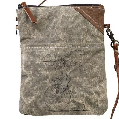 Bicycle/Bike Lady Leather & Canvas Passport Bag/Purse by Clea Ray
