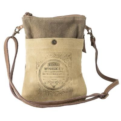 Original Whiskey Leather & Canvas Passport Bag/Purse by Clea Ray