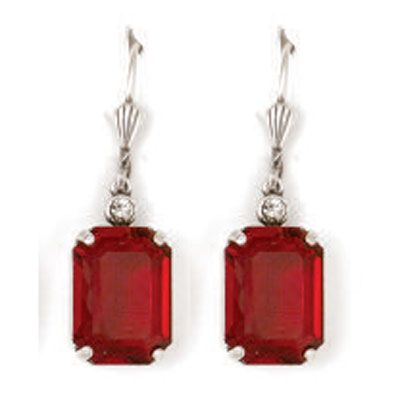 Emerald Cut Crystal Earrings - Red Siam and Silver
