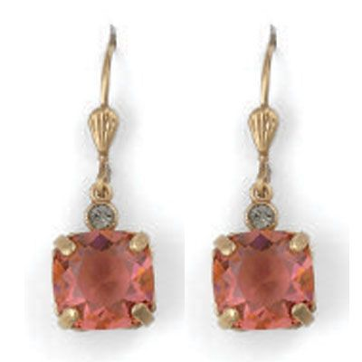 Medium Stone Crystal Earrings - Coral and Gold