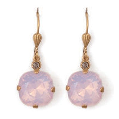 Catherine Popesco Large Stone Crystal Earrings - Rosewater Pink and Gold