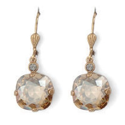 Catherine Popesco Large Stone Crystal Earrings - Champagne and Gold