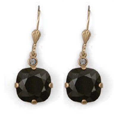 Large Stone Crystal Earrings - Jet Black and Gold