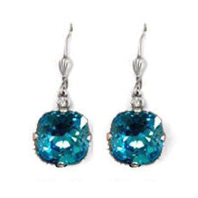Large Stone Crystal Earrings - Electric Blue and Silver