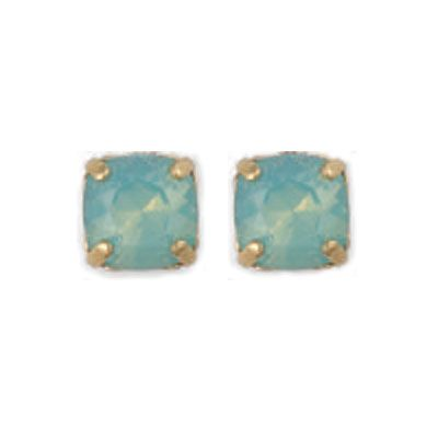 Stud or Post Medium Stone Crystal Earrings - Pacifc Opal and Gold