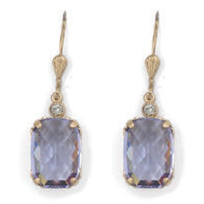 Catherine Popesco Pillow Cut Crystal Earrings - Tanzanite and Gold