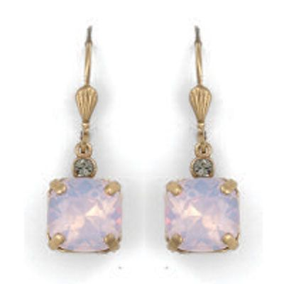 Catherine Popesco Medium Stone Crystal Earrings - Rosewater and Gold