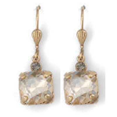 Catherine Popesco Medium Stone Crystal Earrings - Champagne and Gold