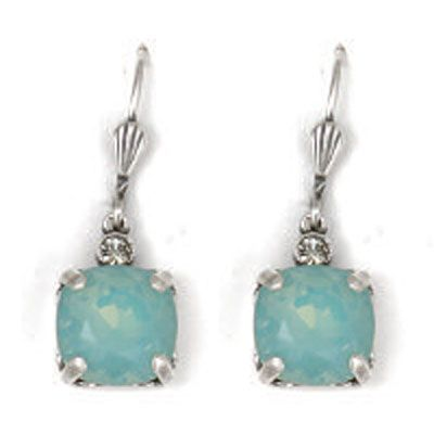 Catherine Popesco Medium Stone Crystal Earrings - Pacific Opal and Silver