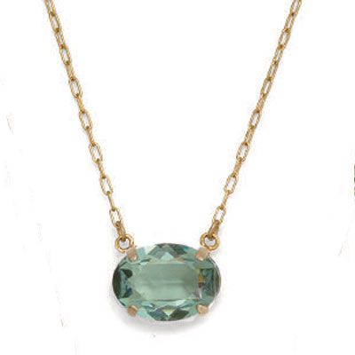 Oval Stone Crystal Necklace - Marine & Gold