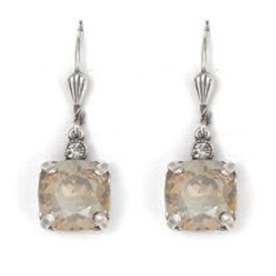 Medium Stone Crystal Earrings - Champagne and Silver