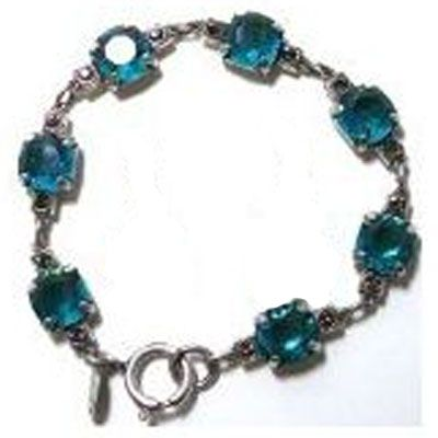 Medium Stone Crystal Bracelet - Teal and Silver
