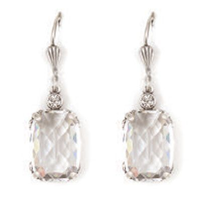 Pillow Cut Crystal Earrings - Clear and Silver