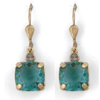 Medium Stone Crystal Earrings - Teal and Gold