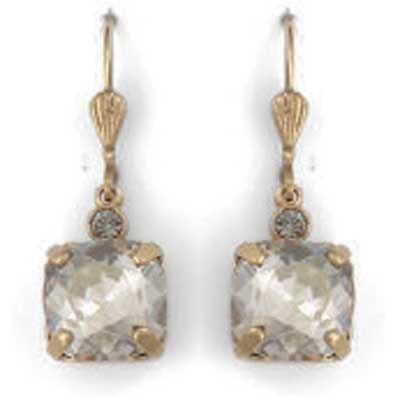 Catherine Popesco Medium Stone Crystal Earrings - Shade and Gold