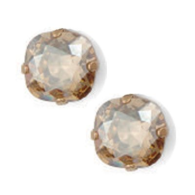 Stud or Post Large Stone Crystal Earrings - Champagne & Gold