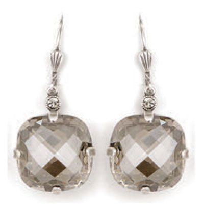 Ex-Large Stone Crystal Earrings - Shade and Silver
