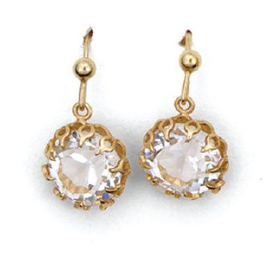 Catherine Popesco Round Crystal and Gold Earrings