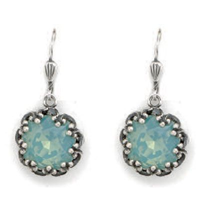 Catherine Popesco Fancy Large Stone Round Earrings - Pacific Opal and Silver