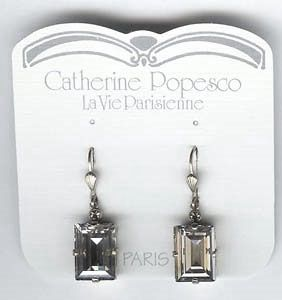 Catherine Popesco Shade and Silver Rectangle Crystal Earrings