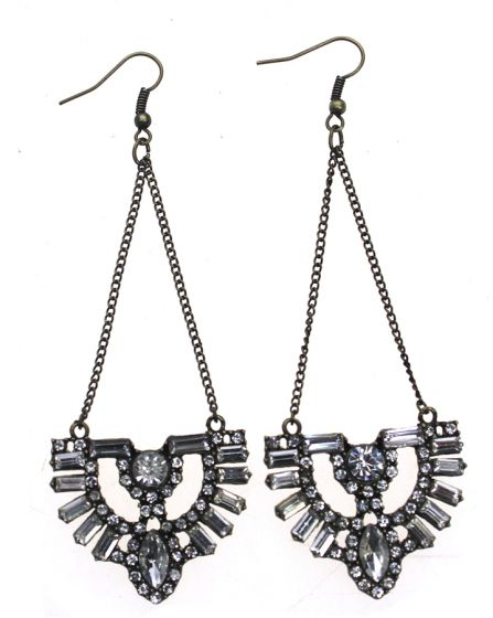 Antique Bronze Art Deco Style Earrings with Clear Crystals by Sweet Lola