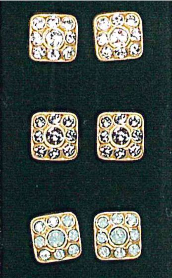 Catherine Popesco Square Post Crystal Earrings - Gold and Black Diamond or Pacific Opal