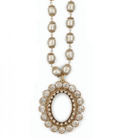 Crystal and Pearl Oval Frame Gold Necklace