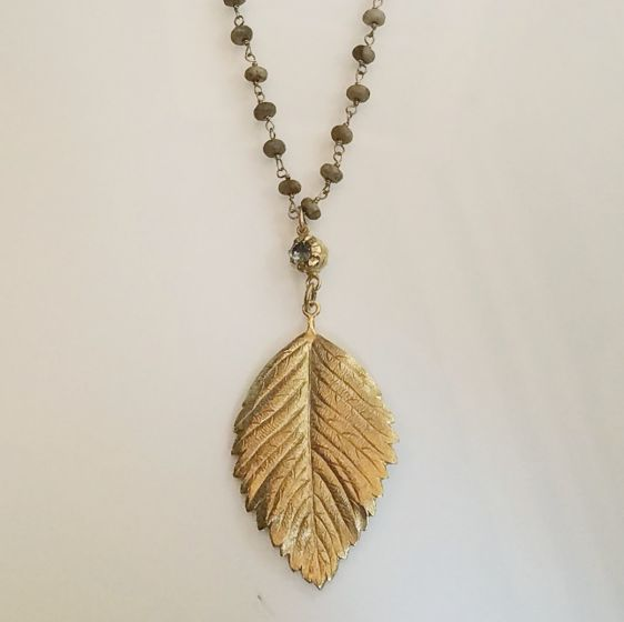 """Catherine Popesco Gold Beaded Leaf Crystal Necklace - 42"""""""