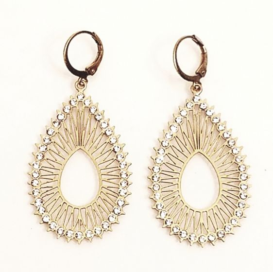 Catherine Popesco Open Teardrop Crystal Earrings