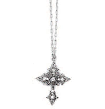 La Vie Parisienne Silver Filigree Crystal Cross Necklace