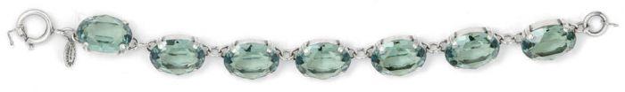 La Vie Parisienne Oval Crystal Bracelet - Marine and Silver