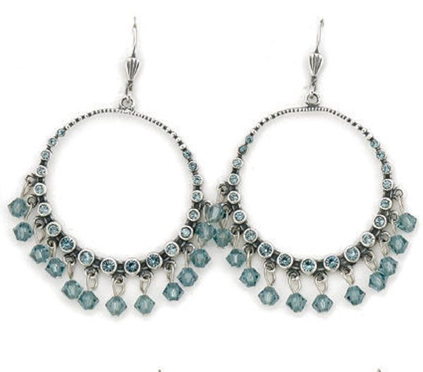 Catherine Popesco Indian Sapphire and Silver Hoop Earrings - Assorted Colors