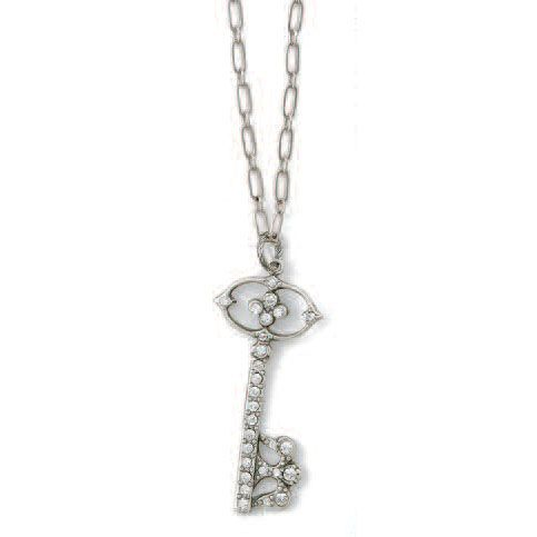 Catherine Popesco La Vie Parisienne Silver Crystal Key Necklace