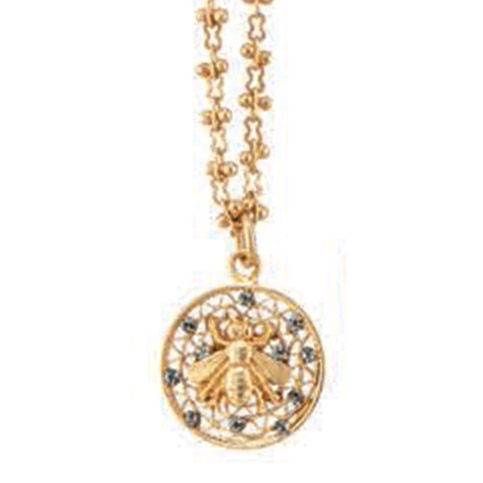 Catherine Popesco Small Round Crystal Filigree Mesh Bee Pendant Necklace