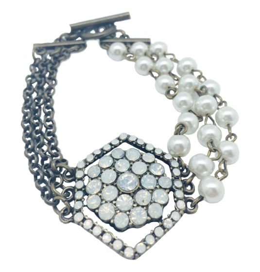 Sweet Lola Bracelet Antique Bronze with Pearls & Milky Opal Crystals