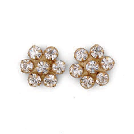 Catherine Popesco Gold Crystal Flower Post Earrings - Assorted Colors