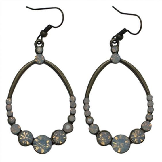 Teardrop Hoop Antique Bronze Earrings with Clear and Milky Opal Crystals by Sweet Lola